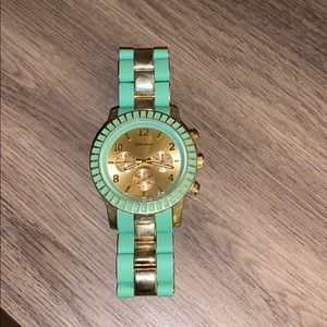 Geneva mint green and gold detail watch